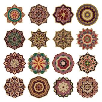 다채로운 벡터 만다라의 집합입니다. 다채로운 디자인 요소입니다.