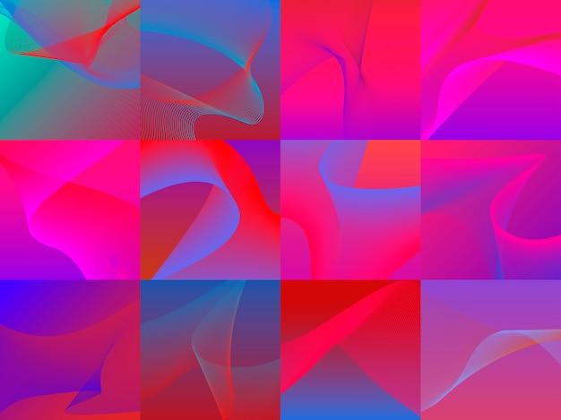 Набор красочных ярких 3d-волн