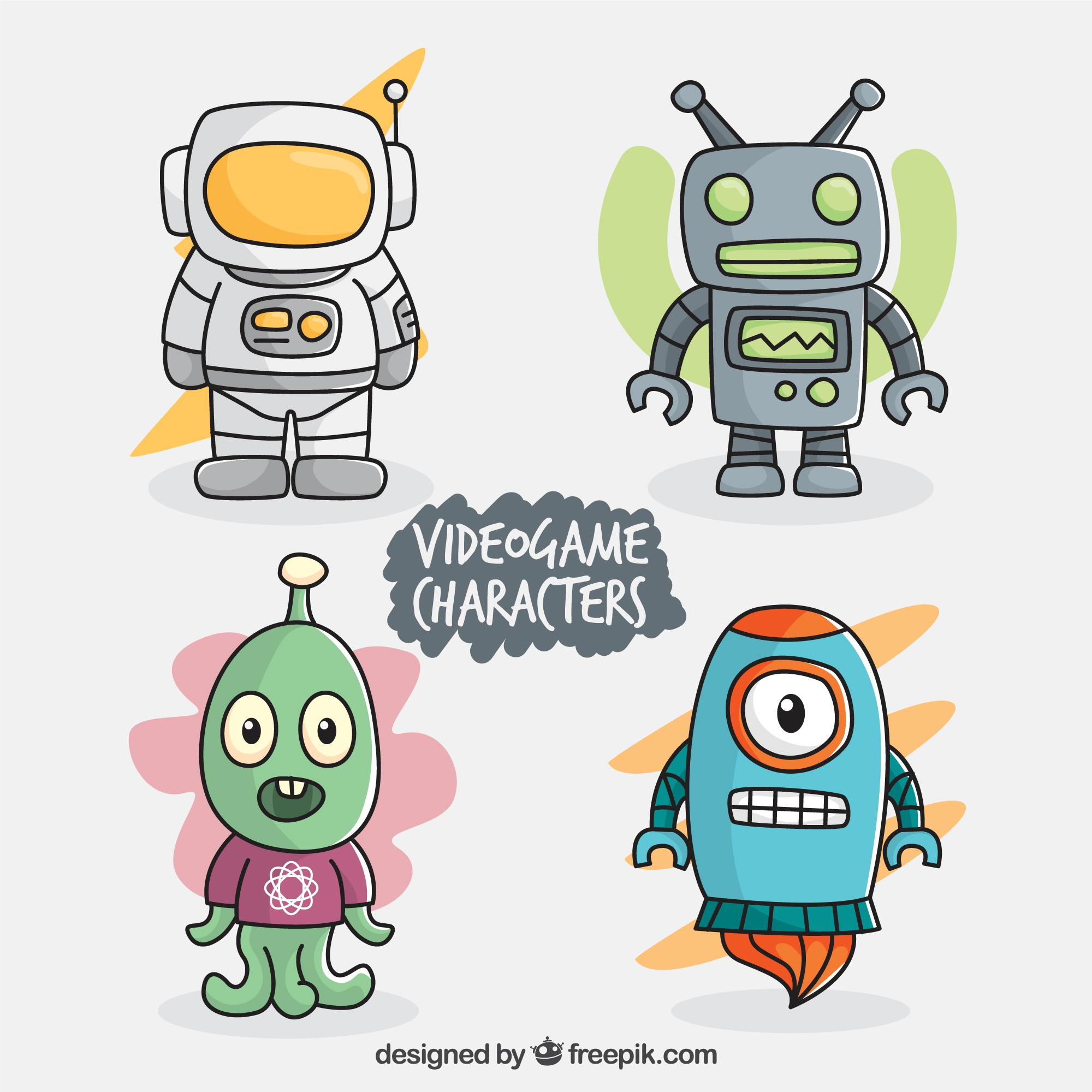 Set of colorful video game characters
