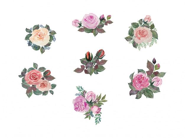 緑の葉とカラフルなヴィンテージローズのセット花束絵画水彩イラスト