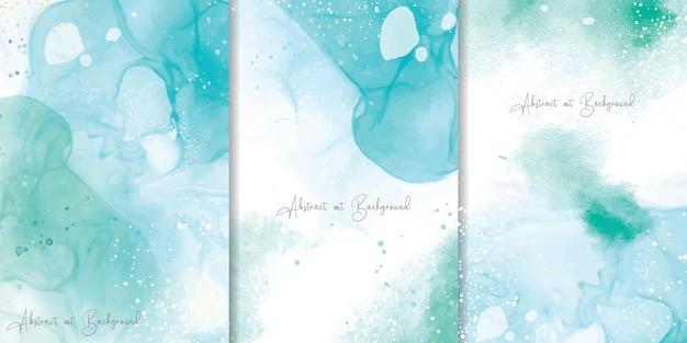 抽象的な流体アート絵画デザインとカラフルな水彩画の背景のセット
