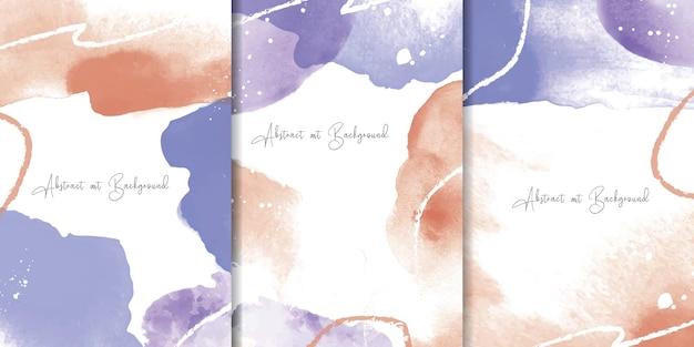 カラフルな水彩画の背景と抽象的な流体アート絵画デザインのセット