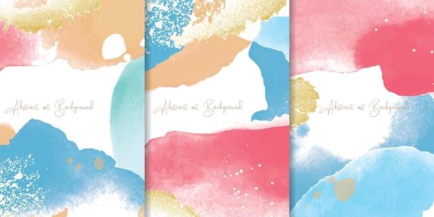 Набор красочных акварельных фонов с абстрактным жидким художественным дизайном живописи