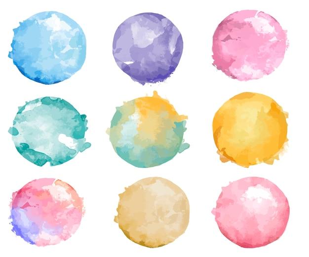 다채로운 수채화 배지 벡터의 집합