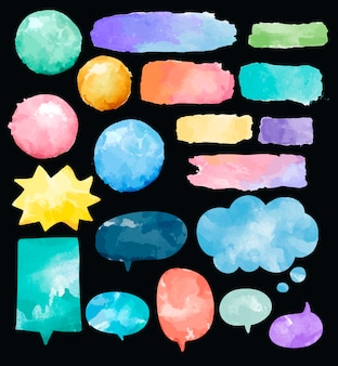 다채로운 수채화 연설 거품 벡터의 집합