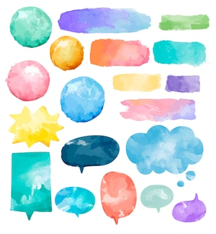 Set of colorful watercolor speech bubbles