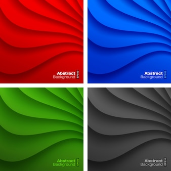 Набор красочных волнистых фонов. векторная иллюстрация