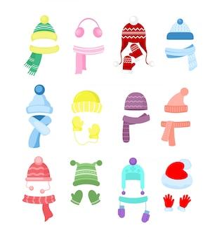 Набор красочных зимних или осенних шапок, коллекции головных уборов. вязание шапки, шарфы и перчатки для девочек и мальчиков на белом фоне в мультяшном стиле.