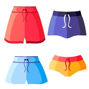 カラフルな女性のスポーツショーツのセットです。女性スポーツ服コレクション。トレーニングショーツ。白い背景の上の図