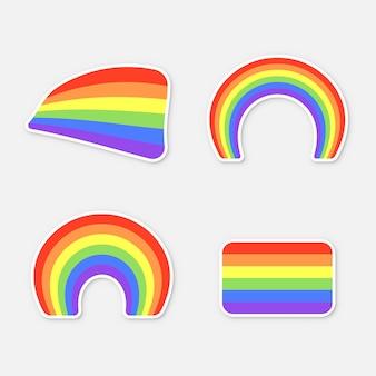 Набор цветных радуг на белом фоне. набор наклеек для печати. флаг лгбт, иллюстрация
