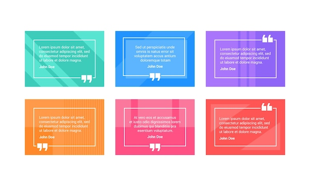 Набор красочных рамок для цитаты