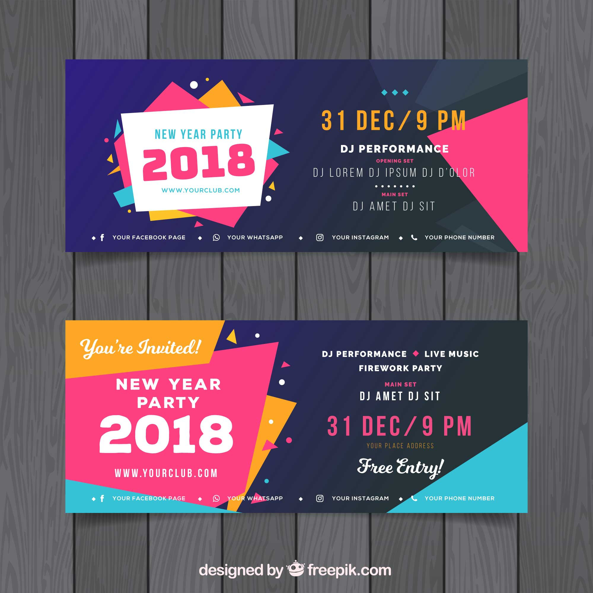 Set of colourful new year party banners