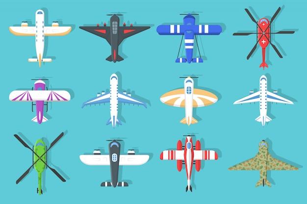 カラフルな飛行機とヘリコプターのアイコンのセットです。フラットスタイル、トップビューで空を飛んでいる飛行機。航空機および軍用機、ヘリコプターのコレクション。空の旅。