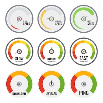 Набор красочных измерителей скорости. три разных. скорость интернета.