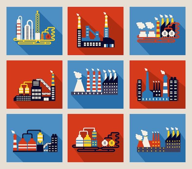 Набор красочных векторных промышленных заводских зданий и нефтеперерабатывающих заводов