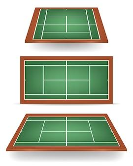 緑と茶色の組み合わせのテニスコートのセット。