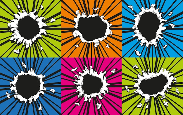 만화 구멍의 집합입니다. 붐 폭발로 종이가 찢어졌습니다. 컬러 배경의 가운데에 원형 구멍