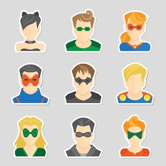 ステッカースタイルのベクトル図で漫画のキャラクタースーパーヒーローのアバターアイコンのセット