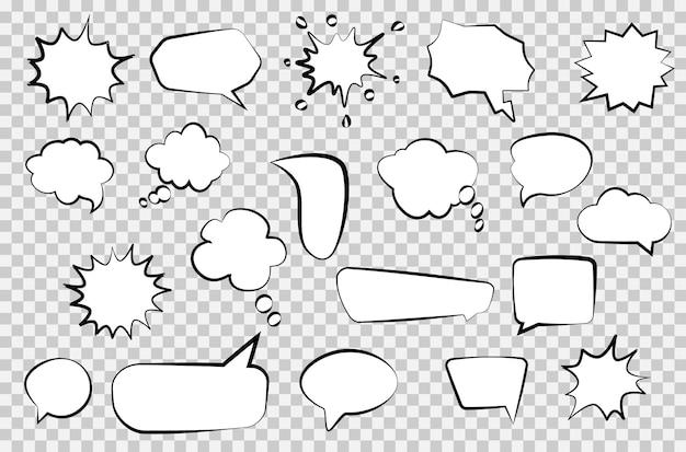 만화 연설 거품의 집합입니다. 포스터, 상징, 기호, 배너, 전단지 디자인 요소입니다. 투명 한 배경에 레트로 빈 거품과 요소를 설정합니다. 빈티지 디자인, 팝 아트 스타일. 벡터 일러스트 레이 션