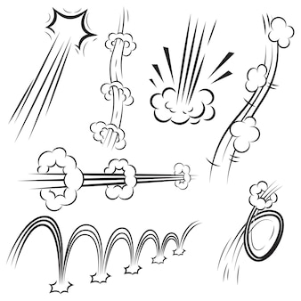 Набор эффектов действий в стиле комиксов, скоростные линии на белом фоне. элемент для плаката, карты, баннера, флаера. образ
