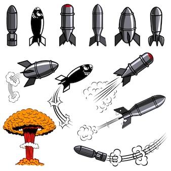 コミックスタイルの爆弾のセットです。ポスター、カード、チラシ、バナー。画像