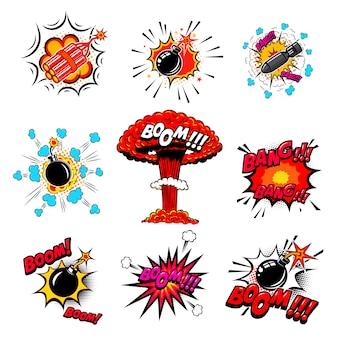 コミックスタイルの爆弾、ダイナマイト、爆発のセット。ポスター、カード、エンブレム、印刷、チラシ、バナーの要素。図