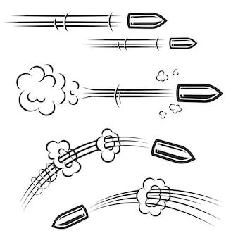Набор эффектов действий пули в стиле комиксов. элемент для плаката, карты, баннера, флаера. иллюстрация