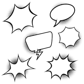 만화 스타일 연설 풍선의 집합입니다. 포스터, 배너, 카드 요소. 삽화