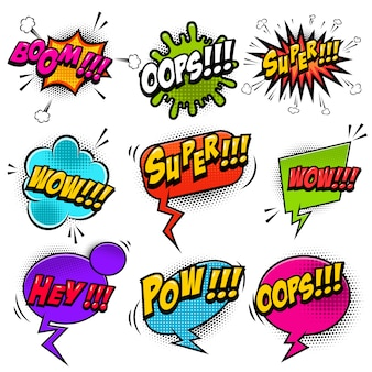 사운드 텍스트 효과와 만화 스타일 연설 거품의 설정. 포스터, 티셔츠, 배너 요소. 영상