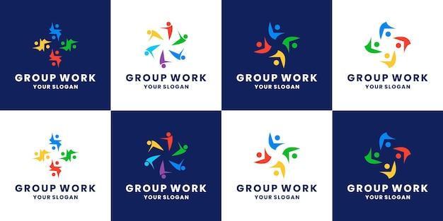 커뮤니티 로고 디자인, 인간, 사람, 그룹 팀 작업 세트