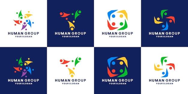 커뮤니티 로고 디자인 인간, 사람, 팀 작업, 그룹, 연결 세트