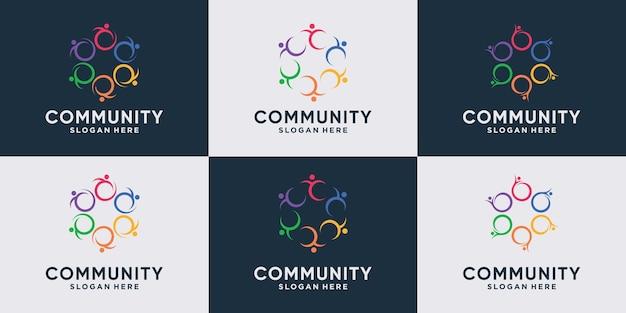 ラインアートスタイルプレミアムベクトルとコミュニティの人々のロゴデザインのセット
