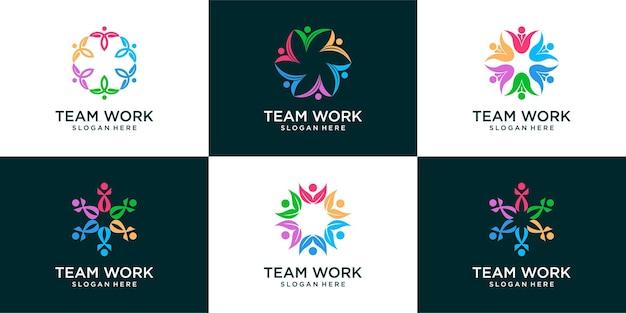 Набор людей сообщества социальный логотип дизайн шаблона вектор