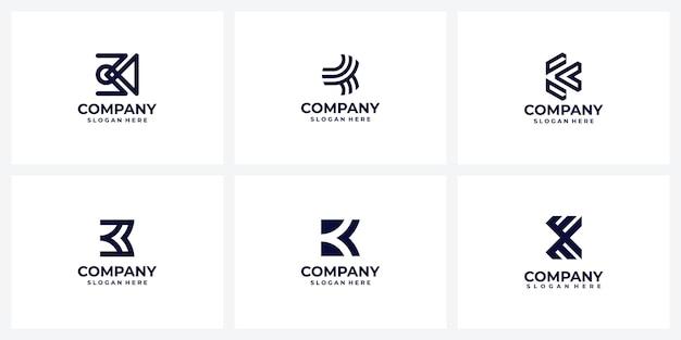 会社のロゴデザインのアイデアのセットレターkモノグラム