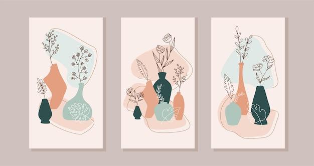 Набор композиций с экзотическими пальмовыми листьями и абстрактными вазами. модный коллаж для дизайна в экологическом стиле. абстрактный дизайн растений для печати, обложки, обоев.