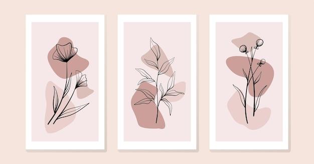 꽃과 잎이 있는 작곡 세트.