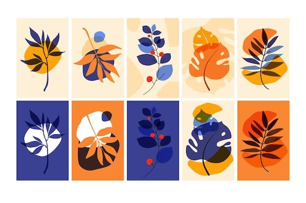 Набор композиций с листьями. модные плакаты или настенные рисунки, готовые к печати. экологический стиль.