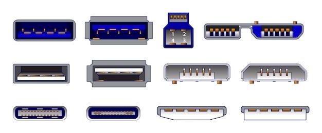 Набор компьютерных разъемов или символы универсального разъема usb или различные разъемы usb mini