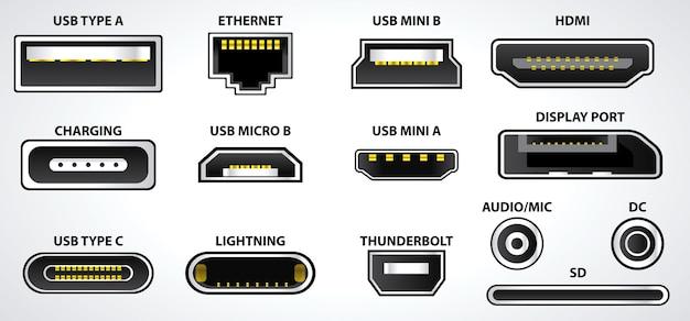 Набор компьютерных разъемов или символы универсального разъема usb или различные разъемы usb-разъема