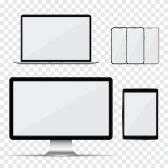コンピューターのモニター、ラップトップ、スマートフォン、空の画面とタブレットのセット
