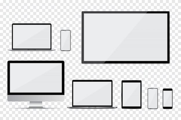 コンピューターのモニター、テレビ、ラップトップ、スマートフォン、空の画面とタブレットのセット