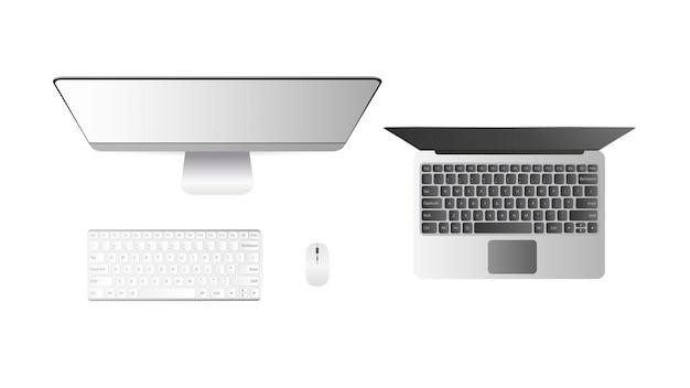 Набор компьютеров вид сверху. настольный пк откройте ноутбук. отдельный на белом фоне.
