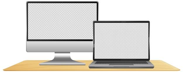 빈 화면이있는 컴퓨터 세트