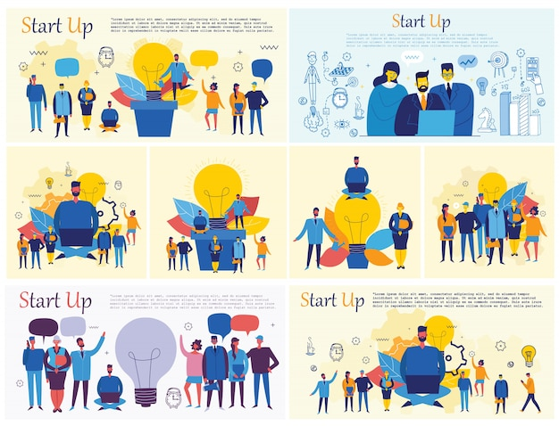 フラットスタイルのスタートアップ、デジタルマーケティング、ビッグアイデア、チームワークの概念図の背景のセット