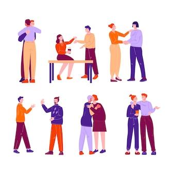 友人や同僚の非公式の会議のための概念のセット。相互の抱擁、挨拶。