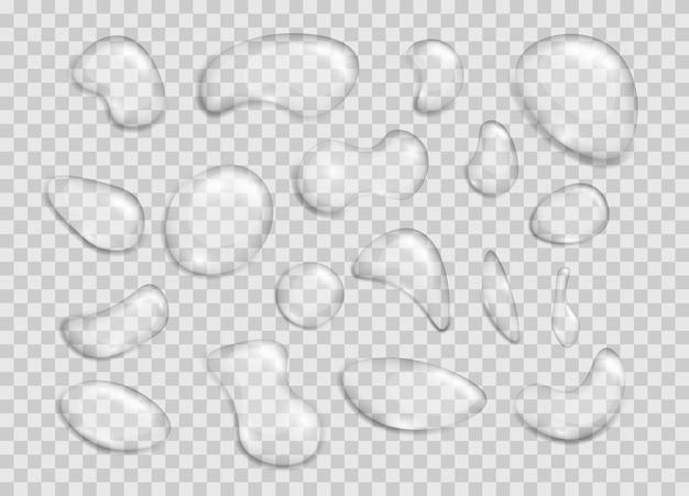 凝縮気泡または現実的なドリップ、h2o要素、ウェットスプラッシュのセット。リアルな透明が様々な形の水を落とします。テーマ湿度と透明度。