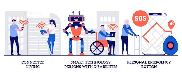 コネクテッドリビングのセット、障害者のためのスマートテクノロジー、個人用緊急ボタン