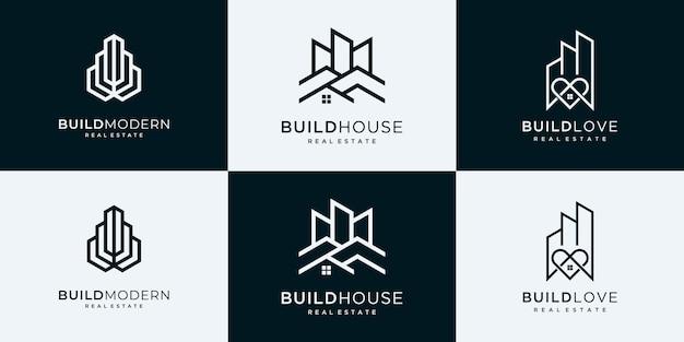 건설, 건축업자, 건물 로고 디자인 영감의 집합입니다.