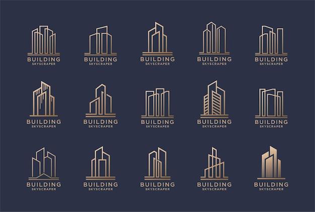 황금 색상의 건설 로고 디자인 세트입니다.