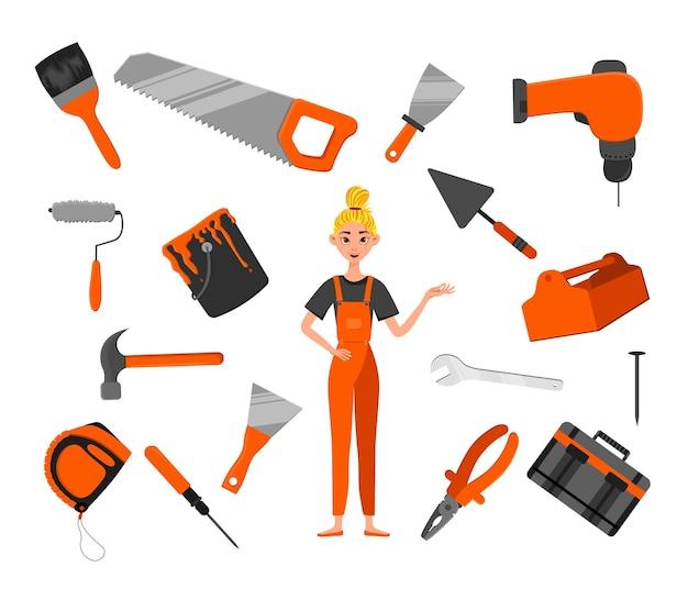 建設ツールと女性キャラクターのセット